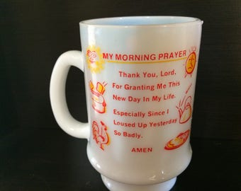 Vintage 1950's Mug with Humorous Prayer made of Milk Glass