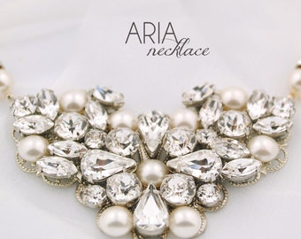 SAMPLE SALE - Pearl wedding necklace - pearl necklace - bridal jewelry - statement bridal necklace - wedding jewelry - Aria necklace
