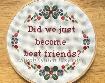 Funny Cross Stitch Pattern Stepbrothers Did We Just Become Best Friends Crossstitch Modern Instant Download PDF