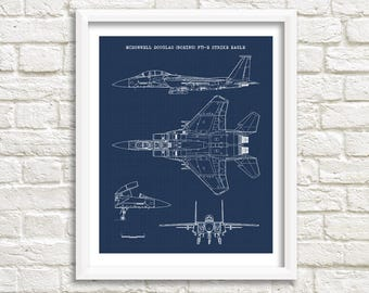 F-15E Strike Eagle Blueprint, Aircraft Blueprint, F-15E, Instant Download, F-15, Aircraft Decor, Air Force Decor, Aviation Art, 8x10, 11x14""