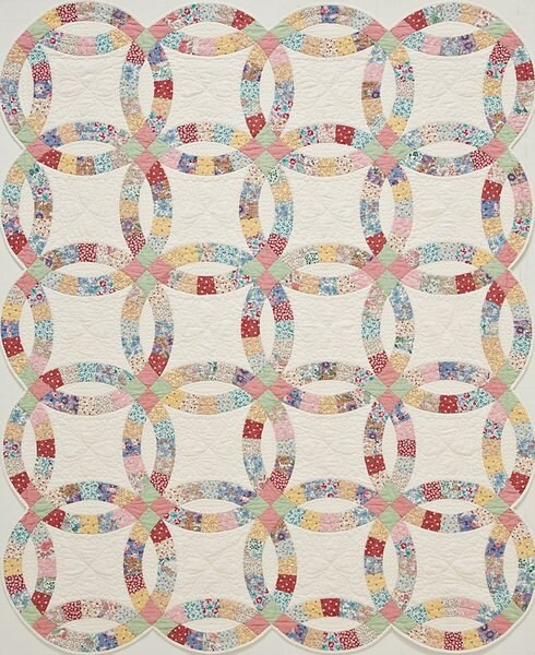 Spring Sale King Double Wedding Ring Pre Cut Quilt Kit 1930s