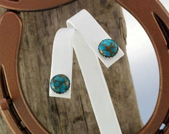 Sterling Silver Post Earrings - Mohave Blue Turquoise Stud Earrings - Handmade Earrings - 10mm Mohave Blue Turquoise in Sterling Silver