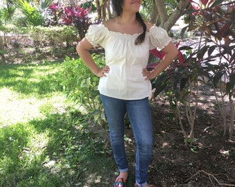 Campesina mexican cream blouse with sleeves