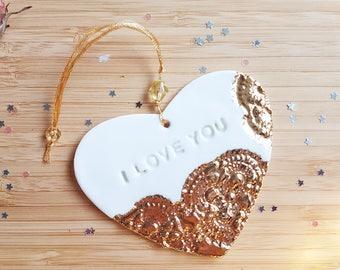 I love you, love heart, valentine gift, porcelain heart, heart decoration, love gift, love decoration, hanging heart decoration