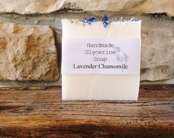 Lavender Chamomile Handmade Soap, Glycerine Soap, Glycerin Soap, Lavender Soap, Handmade Soap, Scented Soap, White Lavender Soap