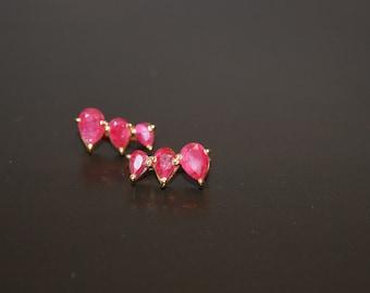 Ear Climber Earring, Ear Cuff Earrings, Climbing Ruby Earrings, Gold Ear Climbers, Sterling Silver Ear Climbers, Gift For Her, Minimalist