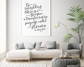 ecclesiastes 3:1 printable · to everything there is a season bible verse · scripture wall decor · seasonal bible quote · christian wall art