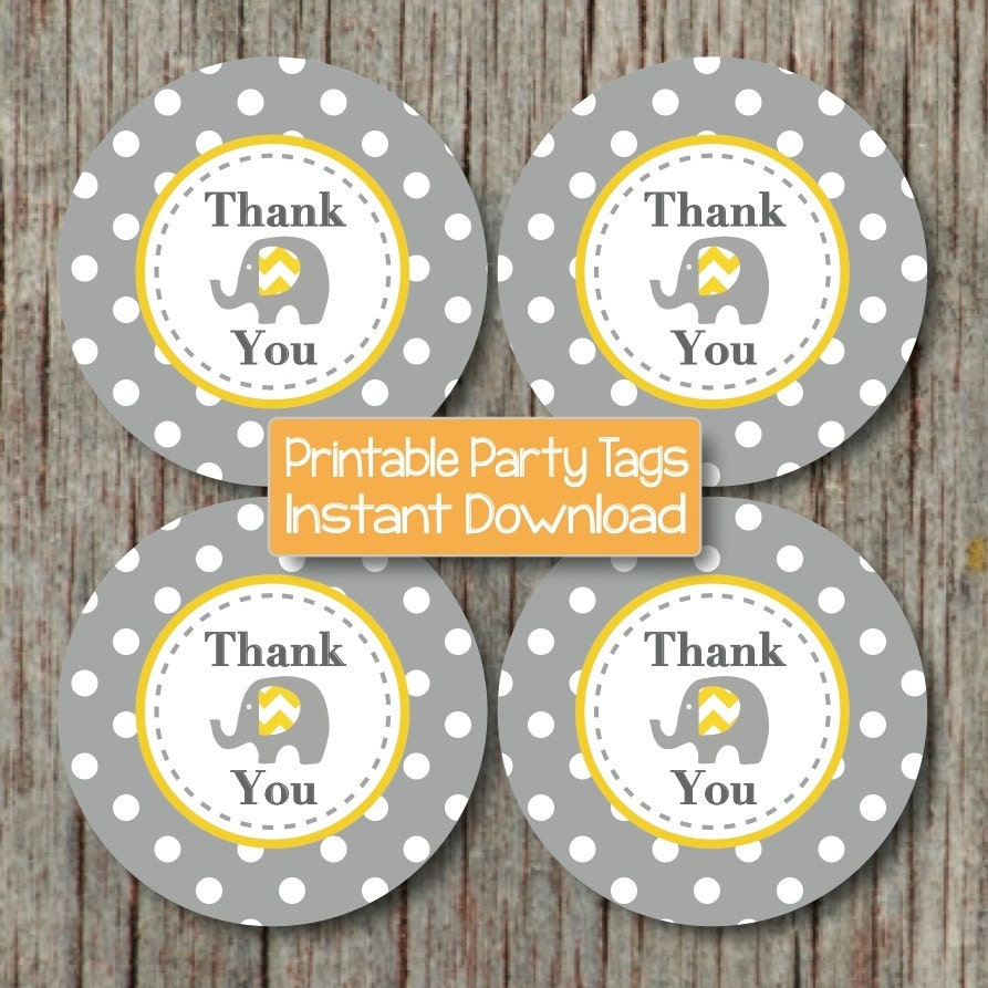 Instant download printable thank you tags baby shower birthday zoom pronofoot35fo Gallery