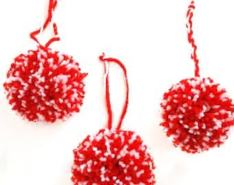 pompom baubles, christmas decoration, christmas pompoms, christmas poms, holiday decorations, festive decorations, pompom decorations