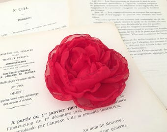 Red Peony Hair Piece.Red Flower Hair Clip.Red Flower Brooch.Peony Brooch.Bridal Headpiece.Wedding.Red Peony pin.chiffon.hair accessory