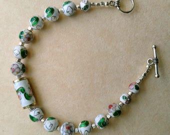 Cloisonné/ Enameled Bracelet . Green White Silver Design, Vintage Cloisonné Beads, Floral Blossoms - Christmas Bracelet by enchantedbeads