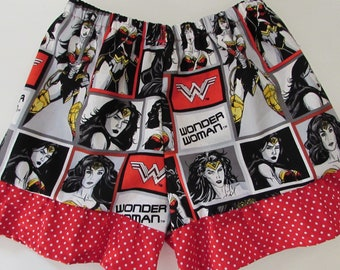 Wonder Woman,Wonder woman ruffle shorts,sleep shorts,womens sleep shorts,girls sleep shorts,mothers day gift,gift for mom,gift for girl