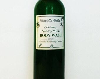 Body Wash - Shannella-Bella Creamy Goat's Milk Exfoliating Body Wash 8oz Nourishing Vitamin Rich Therapeutic Bath or Shower