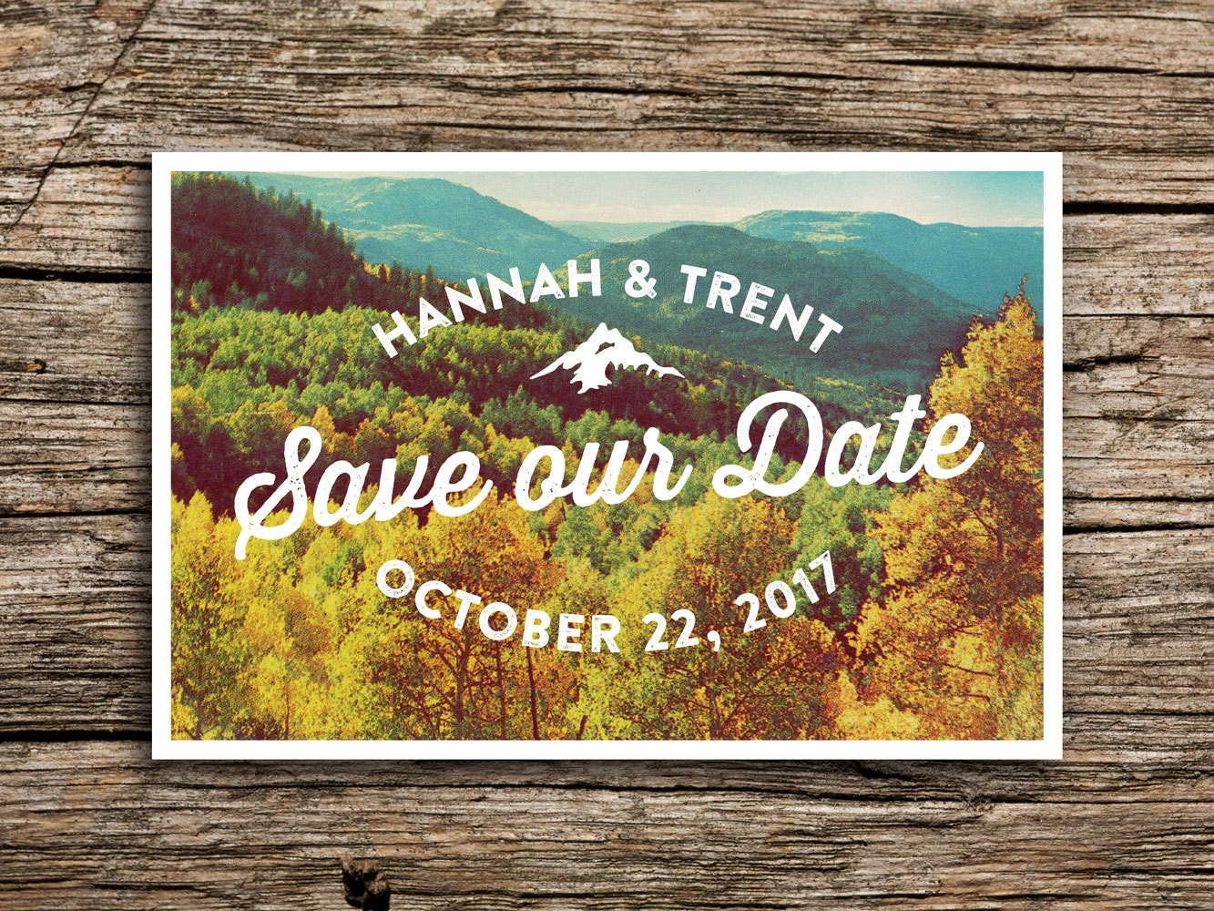Autumn mountain postcard save the date fall wedding october zoom junglespirit Image collections