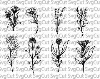 Flower Silhouette Clip Art Set, Floral Silhouettes, Flowers Digistamp Clipart, Hand Drawn Flower ClipArt, Vector Floral Silhouette SVG EPS