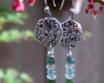 Recycled Sterling silver and ancient Roman glass bead earrings