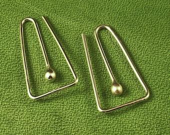 Sterling Silver Hoops / Squared Hoop in Argentium Tear / Bud - A MetalRocks Original Design - Catchless Earrings