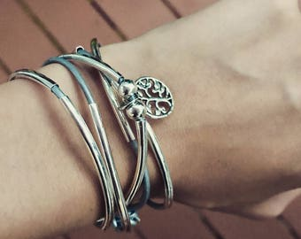 Leather wrap bracelet with tree of life charm