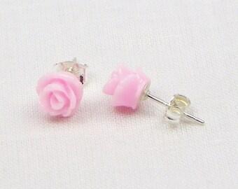 Pink Resin Rose Earrings - Sterling Silver - 7MM - Stud Earrings - Flower Earrings - Resin Earrings - Gift