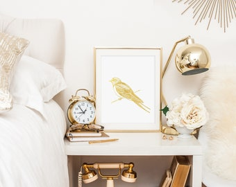 Swallow Bird Gold Foil Print- Real Gold Foil, Bird Art Print, Gold Bird Print, Gold Foil Prints, White and Gold Art, Gold Room Decor