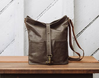 Leather Tote, Leather Shopper, Gray Leather Cow skin: TomTom Tote by Awl Snap