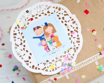 Gift Tags Set 100 , Personalized, Flat Cards, Family