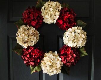 Stately Hydrangea Door Wreath | Front Door Wreath | Entryway Decor | Door Wreaths | Year Round Wreath | Outdoor Wreaths | Housewarming gift