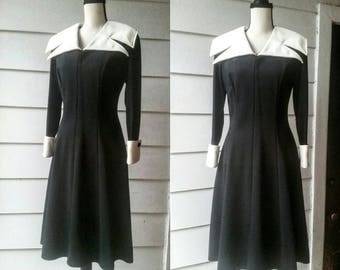 1960s Atomic and Mod Black and White Dress