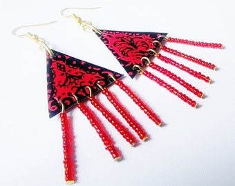 On earrings, dangle earrings, red and black, ethnic, boho, baroque style, lace.