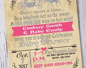 Princess Carriage Baby Shower Invitation
