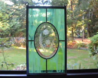 Stained Glass Flower Panel in Green