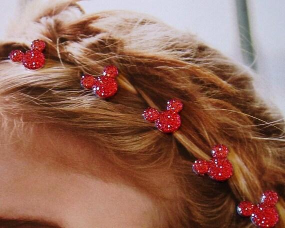 Disney Wedding-MOUSE EARS Hair Swirls-Red Acrylic-Flower Girl-Bridesmaids-Tinker Bell Gift