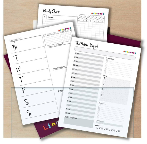 Printable Planner Pages Personalized Hourly Monthly - Custom daily planner