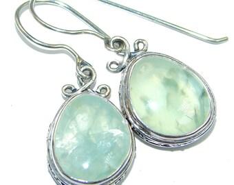 Moss Prehnite Sterling Silver Earrings - weight 8.30g - dim L- 1 1 2, W - 5 8, T- 1 4 inch - code 8-maj-17-22