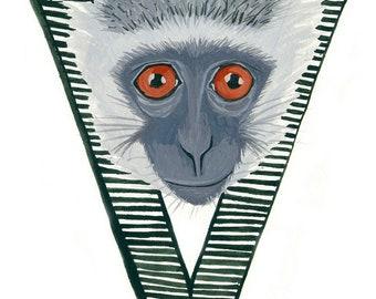 Alphabet Letter V Vervet Monkey Digital Printable Download Wall Art Kids Room Monogram