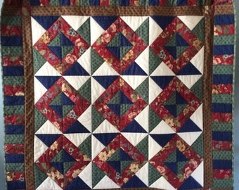 """Machine Quilted Wall Hanging or Table Topper Pinwheels Country Colors 48"""" x 48"""""""