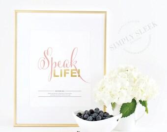 Speak Life – Positive inspirational gold foil print