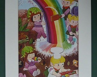 Vintage Print Of Rainbow Pixies - Children's - Elf Lollies - Imp Lollipops - Colourful - Ready To Frame - Matted - End