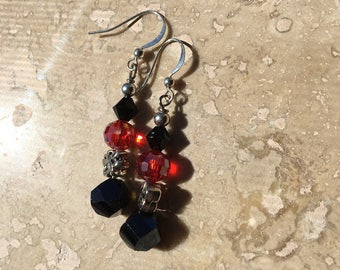 Iridescent Garnet Red Aurora Borealis with Onyx earrings