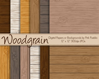 Digital Papers or Background, Printable Scrapbook Papers - Woodgrain - Commercial and Personal Use