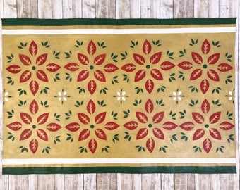 Floral Pattern Floor Cloth, Hand Painted Canvas Rug, Kitchen Mat, Bathroom mat, Small Space Decor, Floorcloth