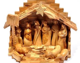 Olivewood Medium Crib + Nativity Set Made in From Bethlehem