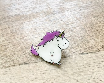 Unicorn Pin, cute fat unicorn, Unicorn Brooch, Unicorn Gift, unicorns, unicorn gift