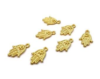 Gold Hamsa, Super Tiny Khamsa, Hamsa, Hand of Fatima Charms, 24K Gold Plated- CHG014