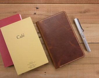 Cafe Note Cover, Leather Cover, Journal Cover, Shinsho Size, Commuter, Writer, B6, Tomoe River Paper, Nanami, Horween, Dublin English Tan