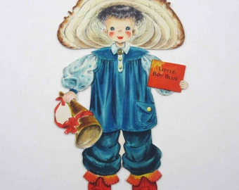Little Boy Blue Vintage 1940s Greeting Card From Land of Make Believe Doll Series by Hallmark Doll No. 5 Unused