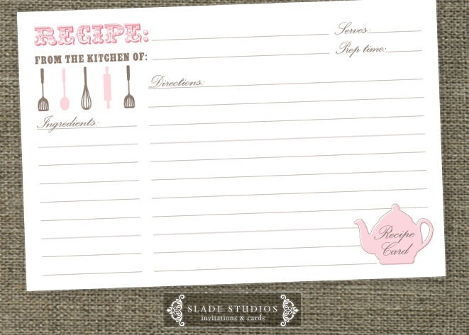 Kitchen tea teapot shower recipe cards printable zoom stopboris Image collections