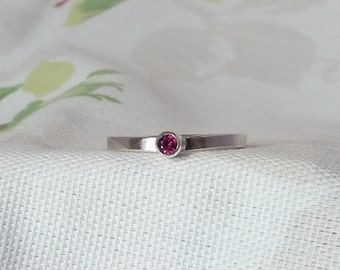 Sterling Silver Garnet Stacking Ring.  January Birthstone Ring. 925 Silver. Size S