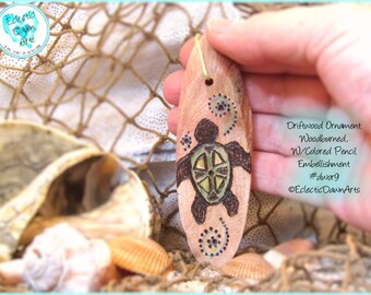 Tribal Turtle Driftwood Art Ornament, Pyrography and Pencil, #DWOR9
