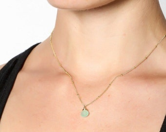 Delcate Seafoam blue chalcedony gemstone solitare necklace (gold vermeil or sterling silver)